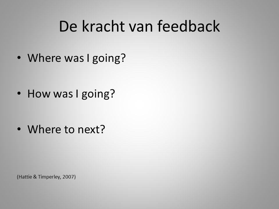De kracht van feedback Where was I going How was I going
