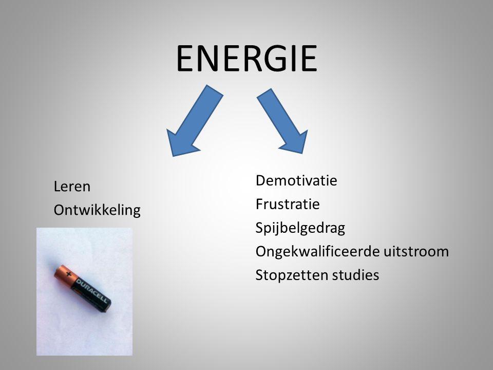 ENERGIE Demotivatie Frustratie Spijbelgedrag Ongekwalificeerde uitstroom Stopzetten studies Leren.