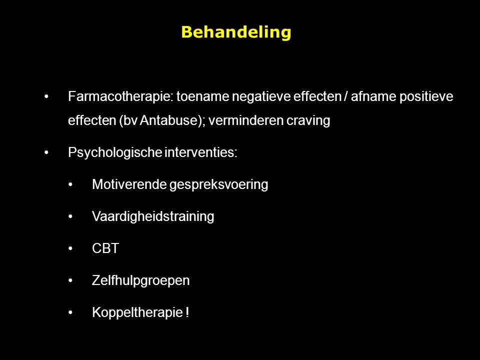 Behandeling Farmacotherapie: toename negatieve effecten / afname positieve effecten (bv Antabuse); verminderen craving.