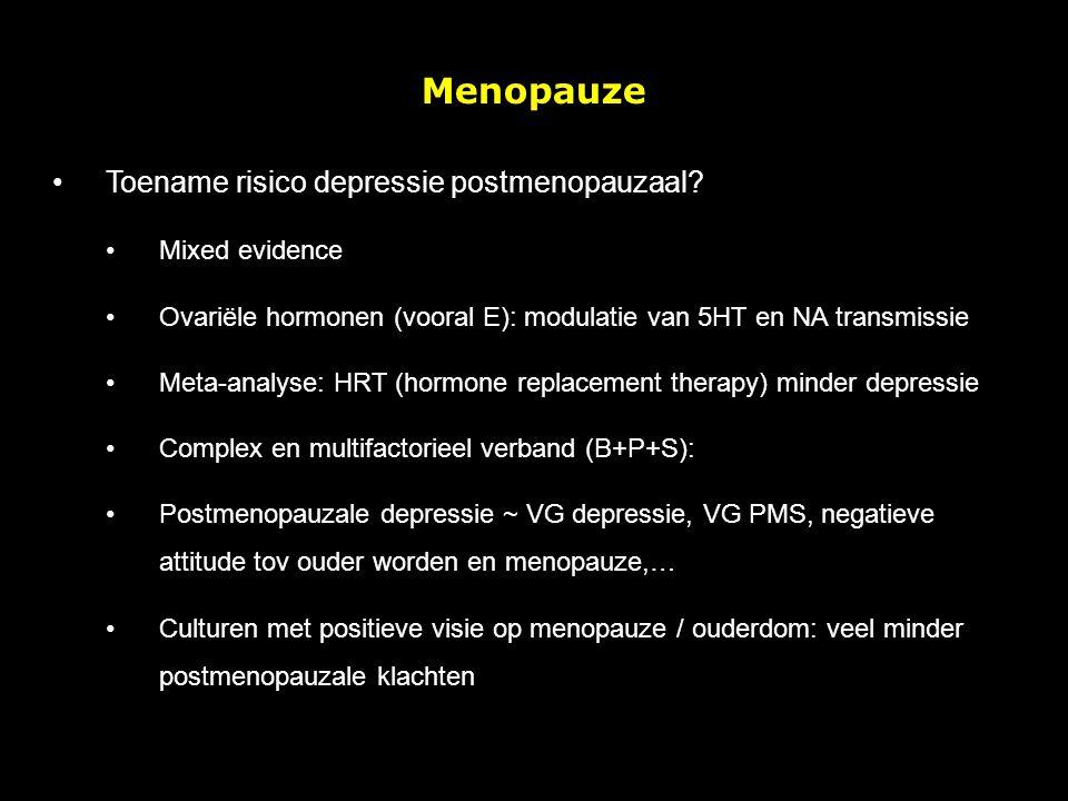 Menopauze Toename risico depressie postmenopauzaal Mixed evidence