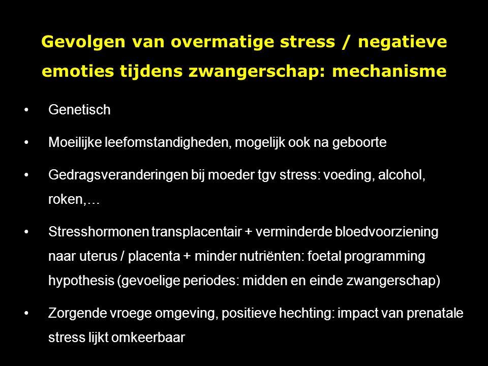 Gevolgen van overmatige stress / negatieve emoties tijdens zwangerschap: mechanisme