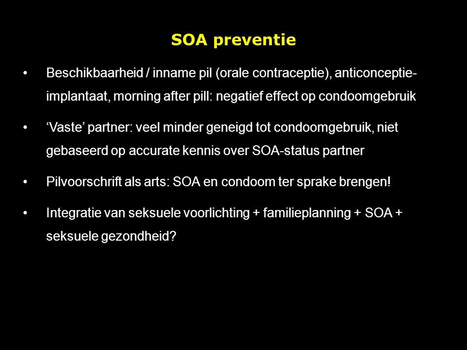SOA preventie Beschikbaarheid / inname pil (orale contraceptie), anticonceptie- implantaat, morning after pill: negatief effect op condoomgebruik.