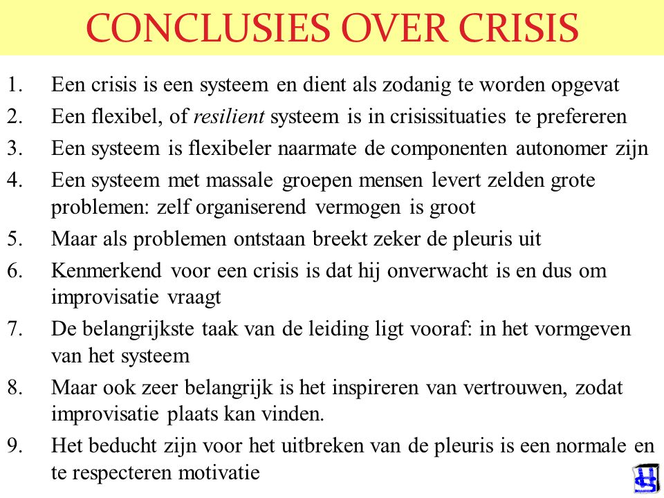 CONCLUSIES OVER CRISIS