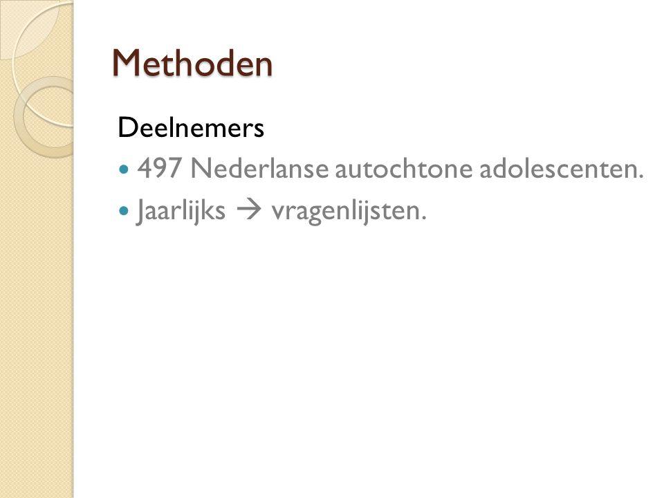 Methoden Deelnemers 497 Nederlanse autochtone adolescenten.