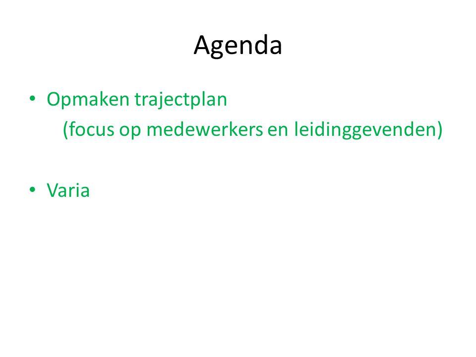 Agenda Opmaken trajectplan (focus op medewerkers en leidinggevenden)