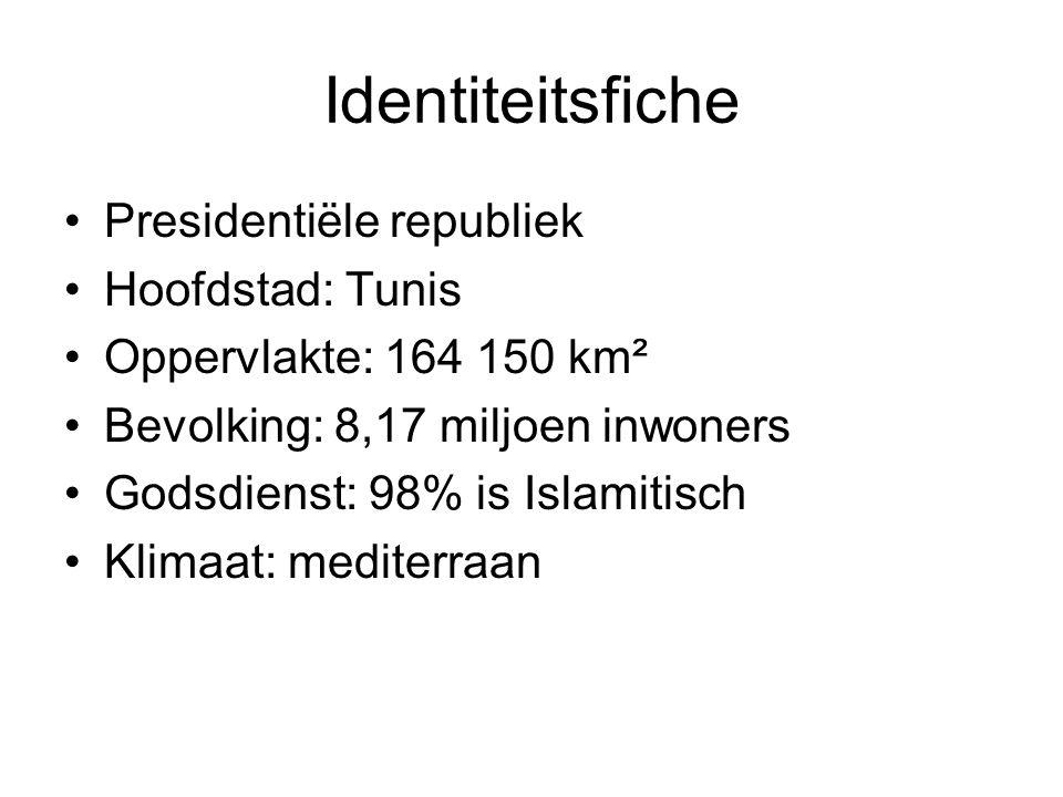Identiteitsfiche Presidentiële republiek Hoofdstad: Tunis