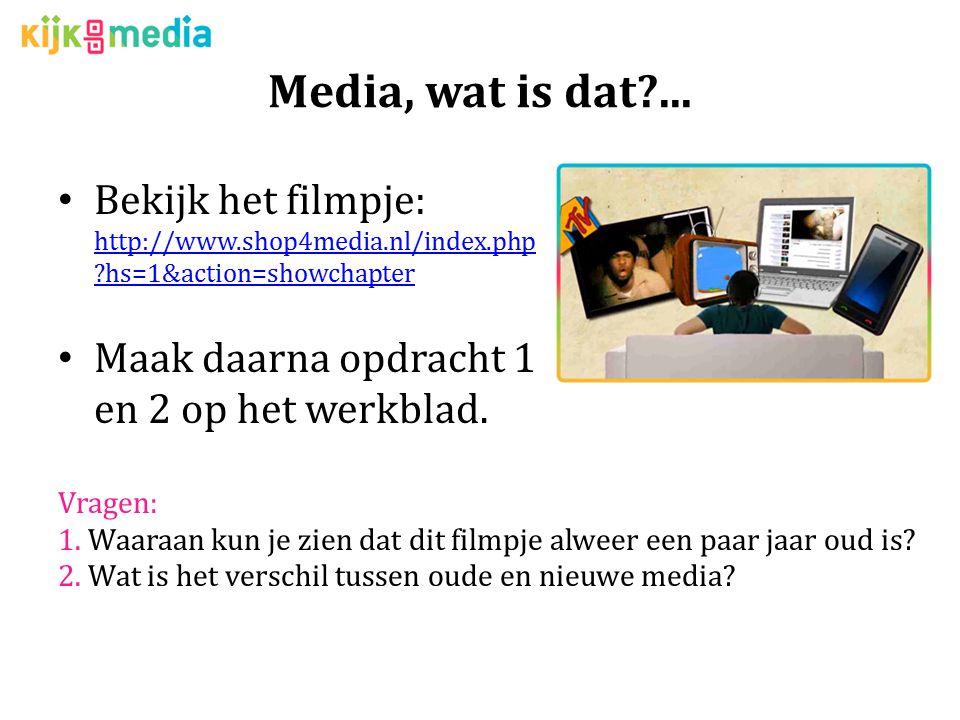 Media, wat is dat ... Bekijk het filmpje: http://www.shop4media.nl/index.php hs=1&action=showchapter.