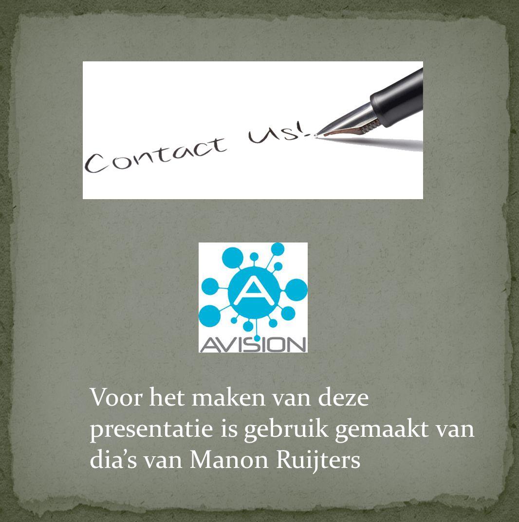 Voor het maken van deze presentatie is gebruik gemaakt van dia's van Manon Ruijters