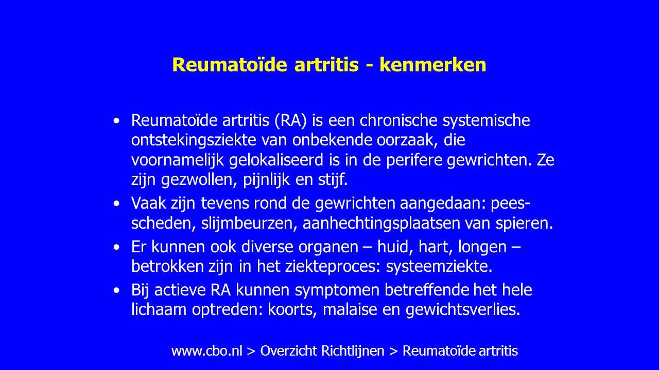 Reumatoïde artritis - kenmerken