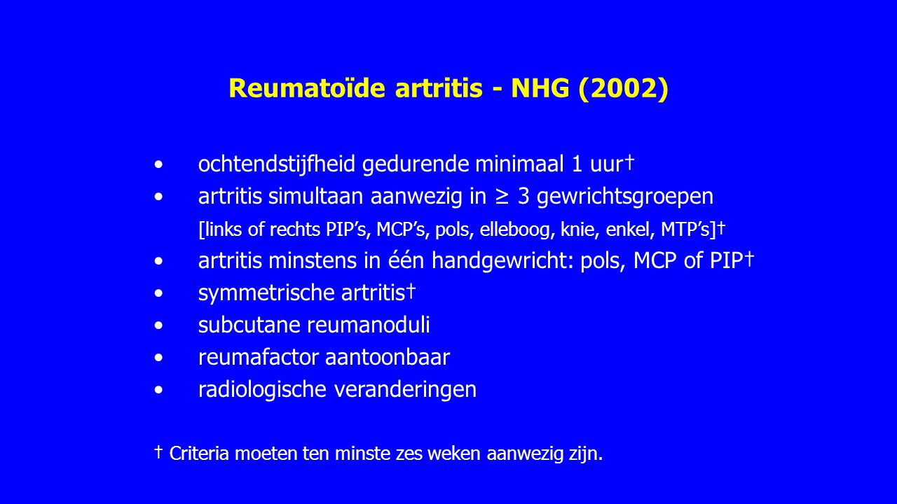 Reumatoïde artritis - NHG (2002)