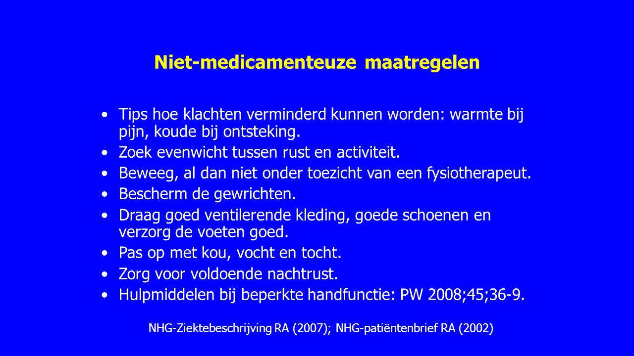 Niet-medicamenteuze maatregelen
