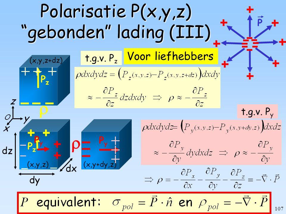 Polarisatie P(x,y,z) gebonden lading (III)