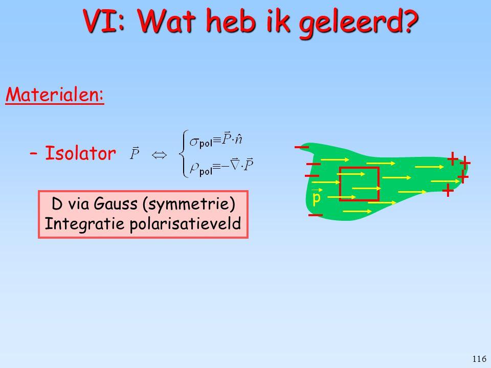 VI: Wat heb ik geleerd Materialen: Isolator p D via Gauss (symmetrie)