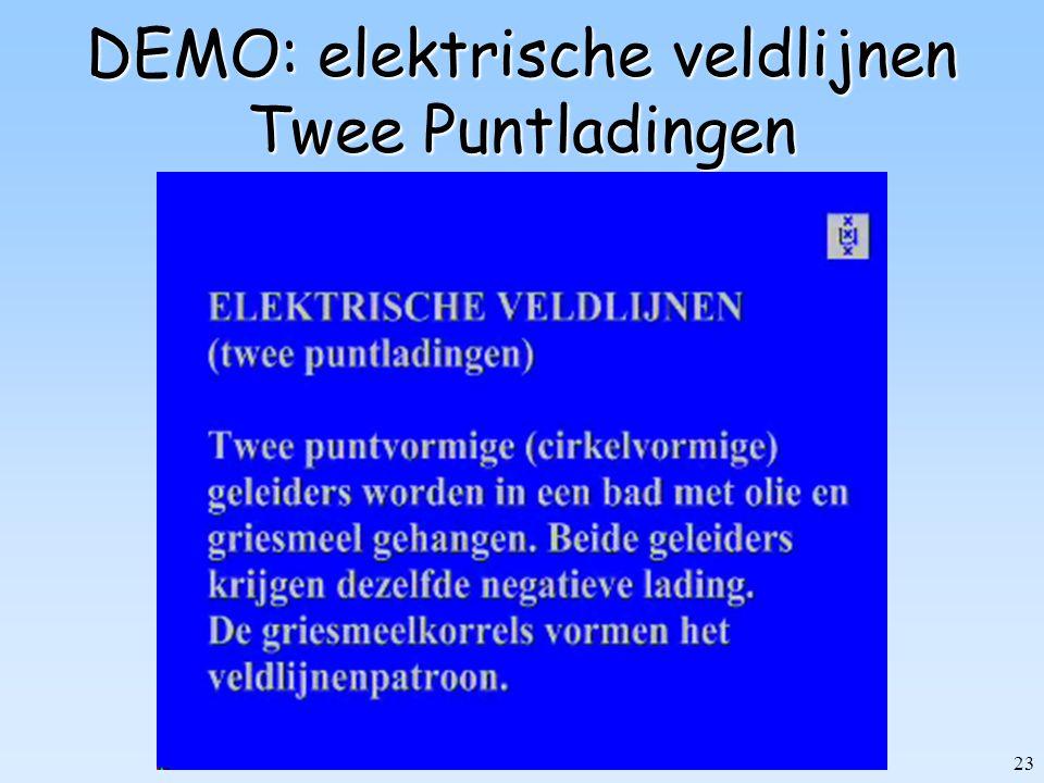 DEMO: elektrische veldlijnen Twee Puntladingen