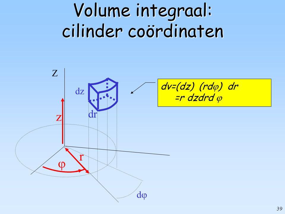Volume integraal: cilinder coördinaten