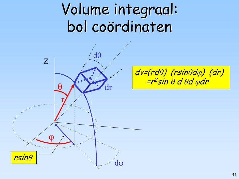 Volume integraal: bol coördinaten