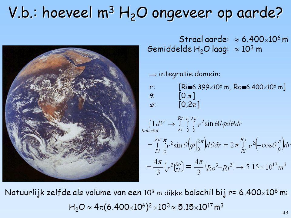 V.b.: hoeveel m3 H2O ongeveer op aarde