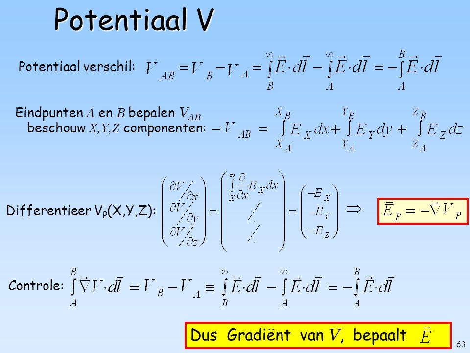 Potentiaal V Dus Gradiënt van V, bepaalt Potentiaal verschil: