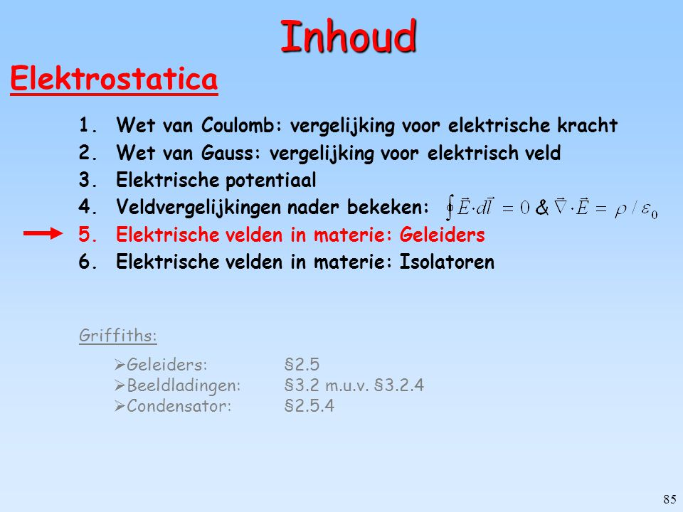 Inhoud Elektrostatica