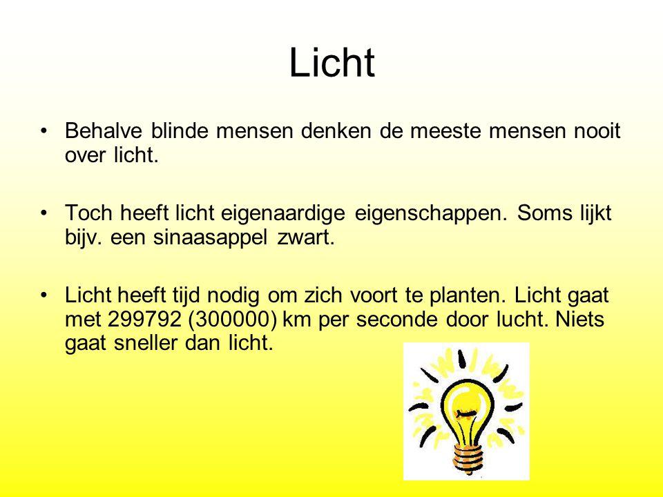 Licht Behalve blinde mensen denken de meeste mensen nooit over licht.