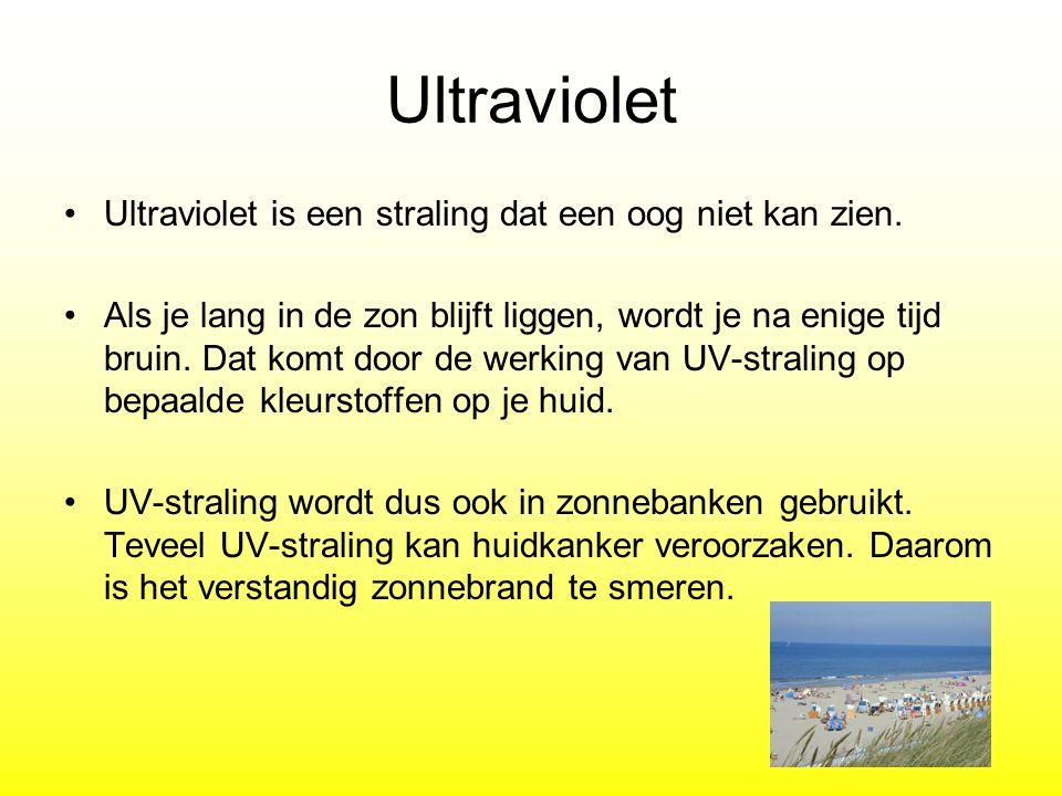 Ultraviolet Ultraviolet is een straling dat een oog niet kan zien.