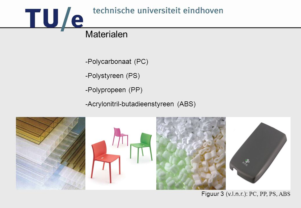 Materialen Polycarbonaat (PC) Polystyreen (PS) Polypropeen (PP)
