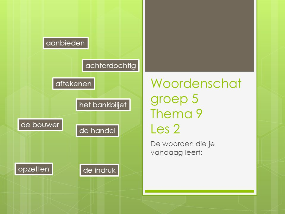 Woordenschat groep 5 Thema 9 Les 2