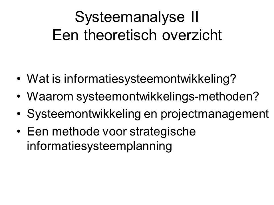 Systeemanalyse II Een theoretisch overzicht