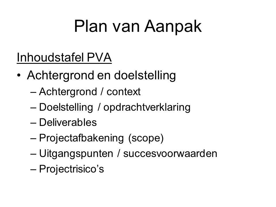 Plan van Aanpak Inhoudstafel PVA Achtergrond en doelstelling