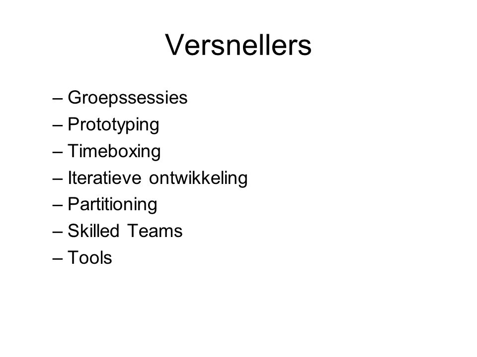 Versnellers Groepssessies Prototyping Timeboxing