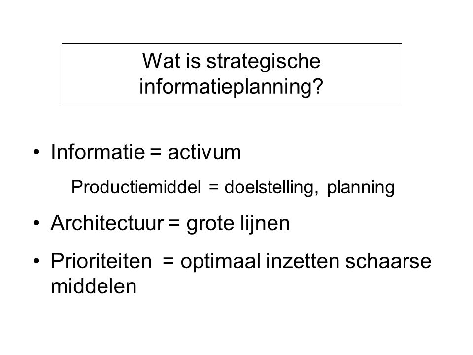 Wat is strategische informatieplanning