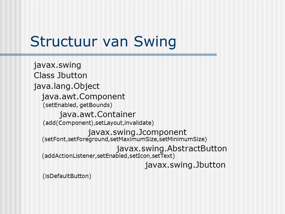 Structuur van Swing javax.swing Class Jbutton java.lang.Object