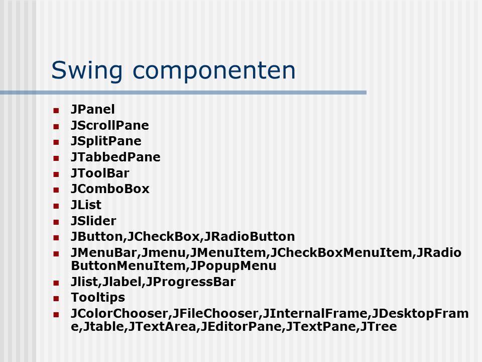 Swing componenten JPanel JScrollPane JSplitPane JTabbedPane JToolBar