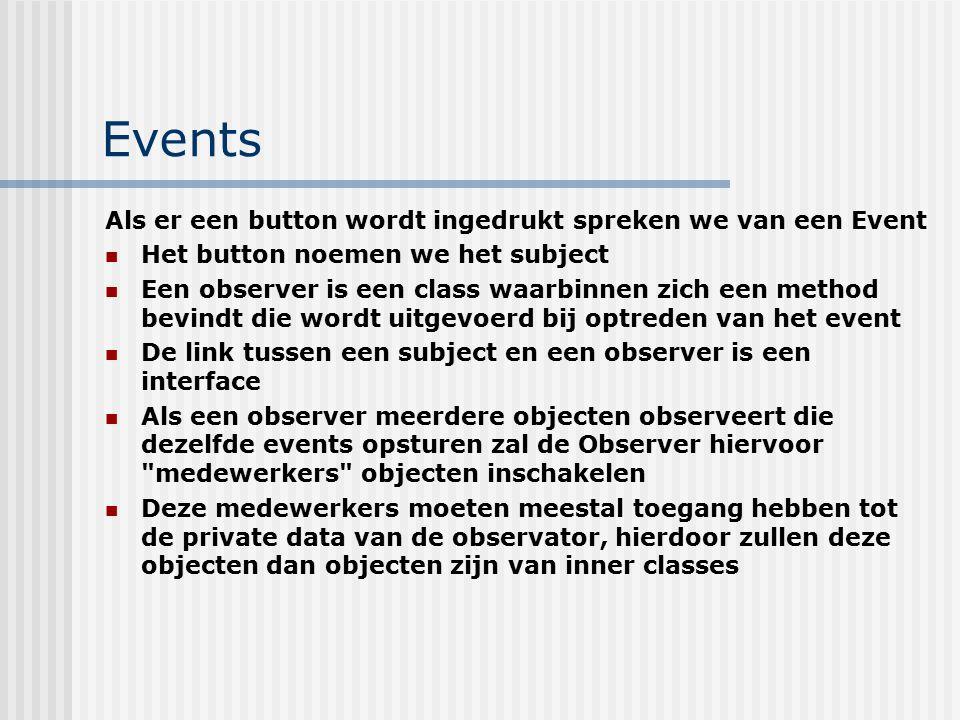 Events Als er een button wordt ingedrukt spreken we van een Event