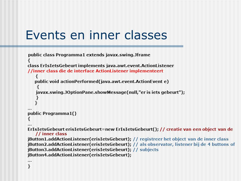 Events en inner classes