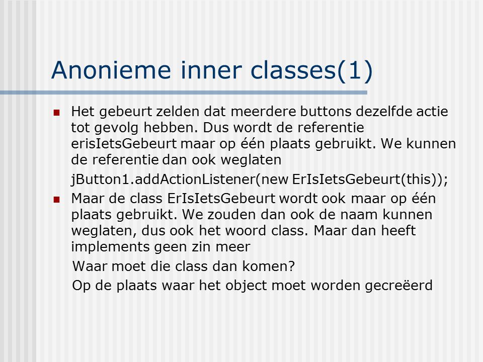 Anonieme inner classes(1)