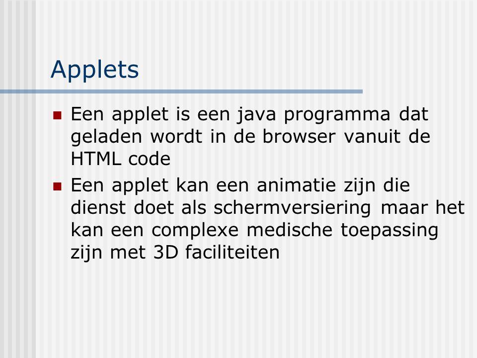 Applets Een applet is een java programma dat geladen wordt in de browser vanuit de HTML code.