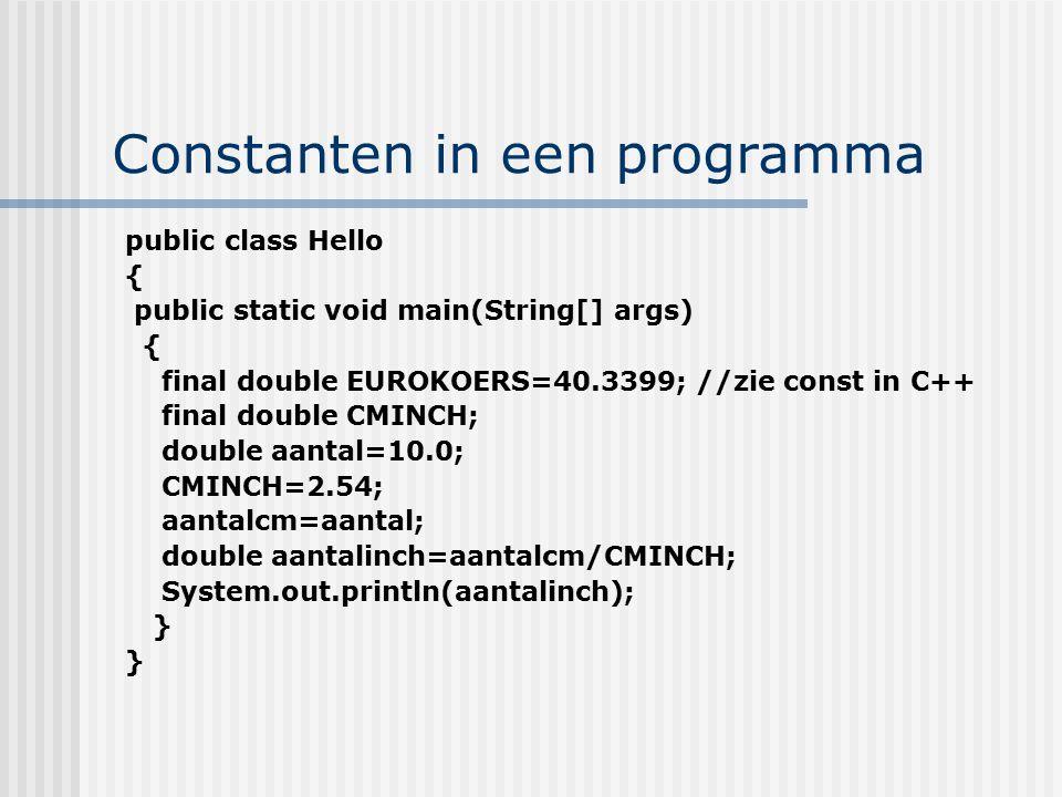 Constanten in een programma