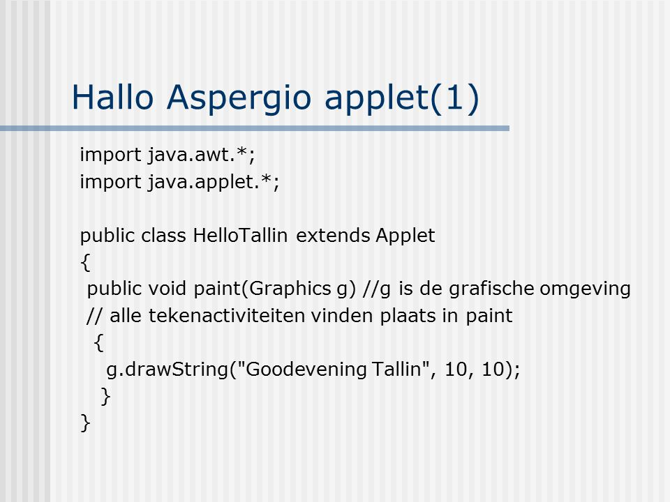 Hallo Aspergio applet(1)