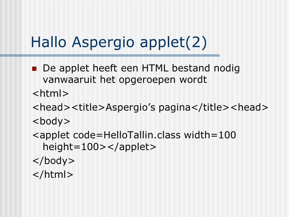 Hallo Aspergio applet(2)