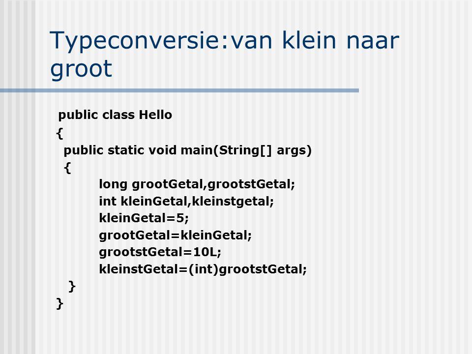 Typeconversie:van klein naar groot