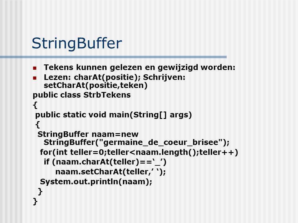 StringBuffer Tekens kunnen gelezen en gewijzigd worden: