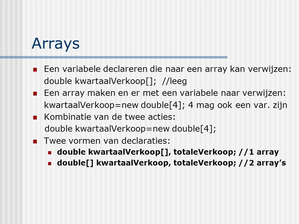 Arrays Een variabele declareren die naar een array kan verwijzen: