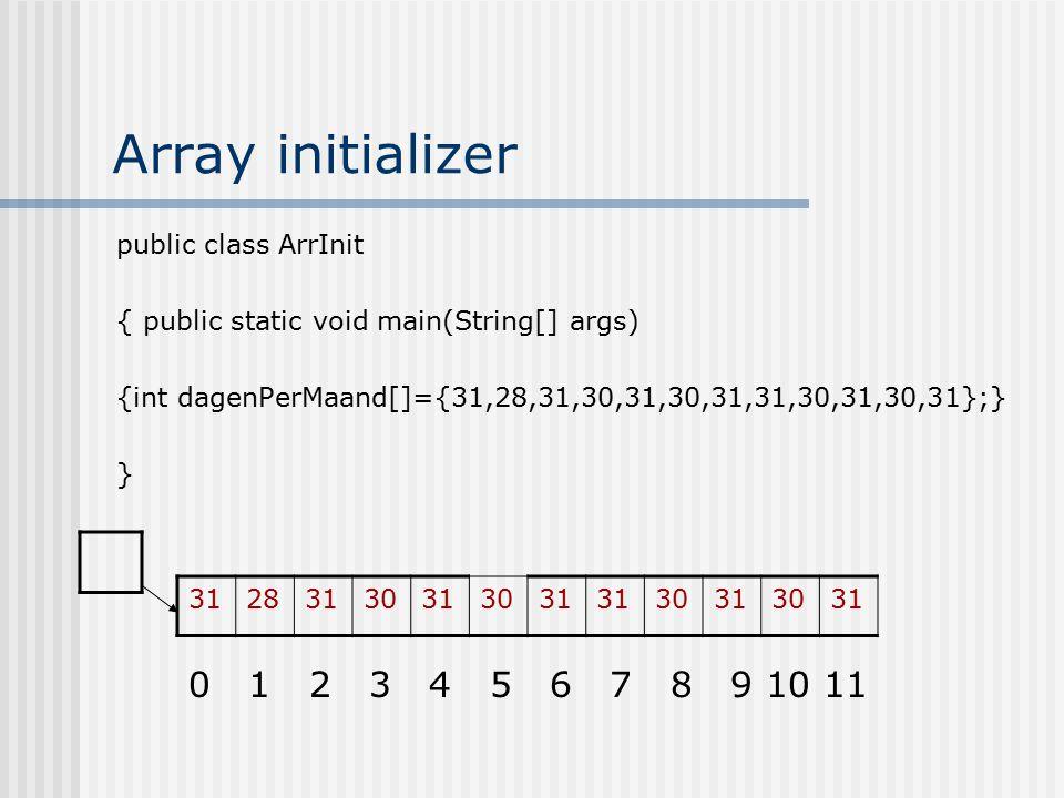 Array initializer 0 1 2 3 4 5 6 7 8 9 10 11 public class ArrInit