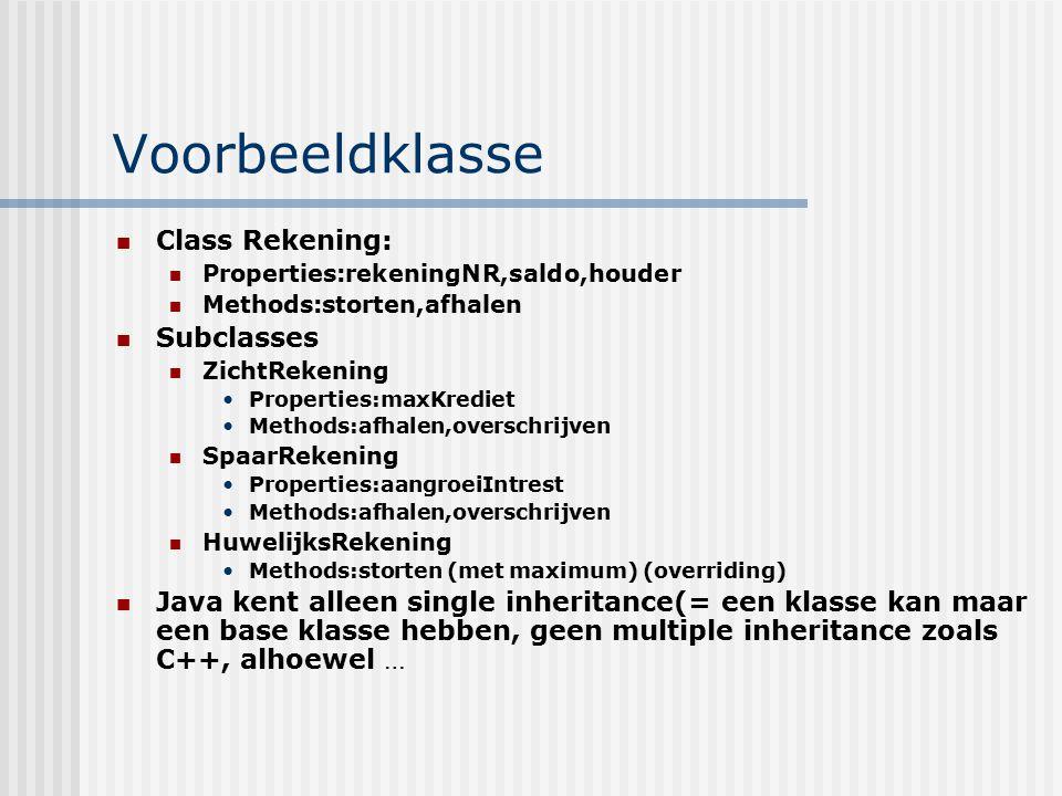 Voorbeeldklasse Class Rekening: Subclasses