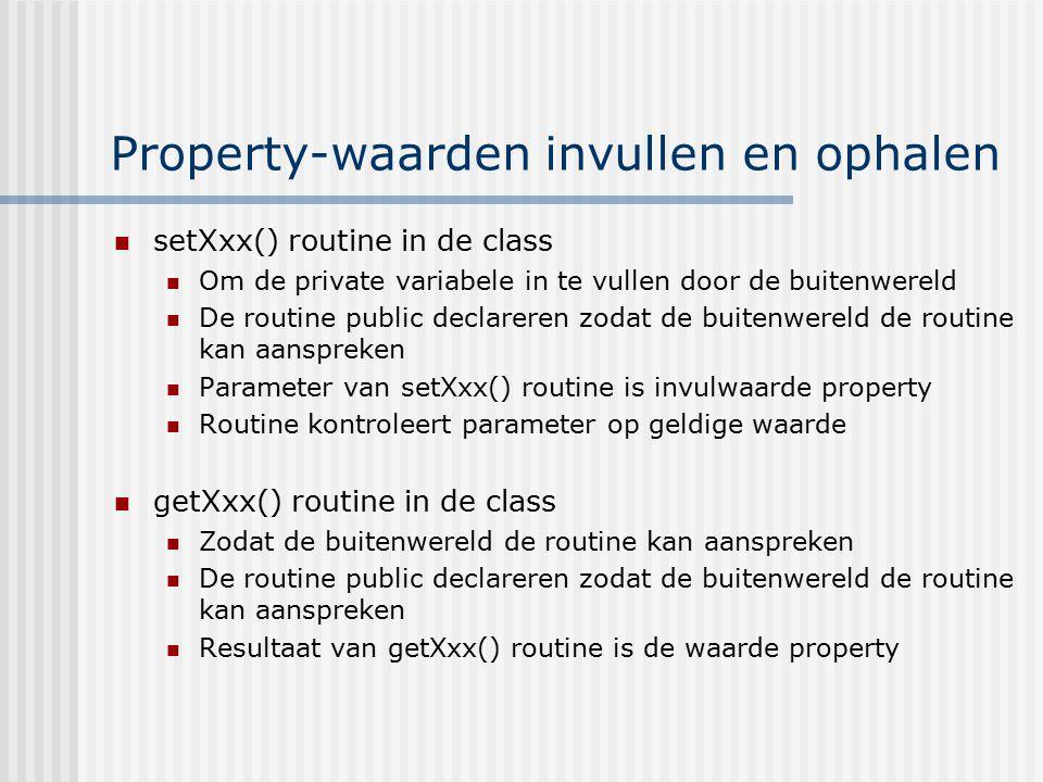 Property-waarden invullen en ophalen