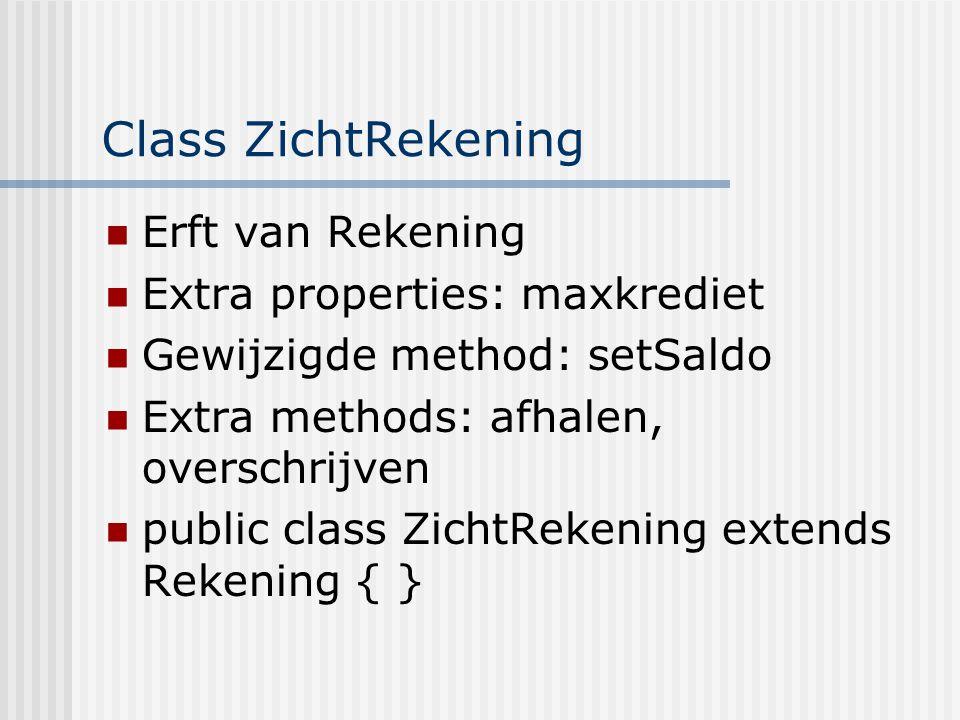 Class ZichtRekening Erft van Rekening Extra properties: maxkrediet