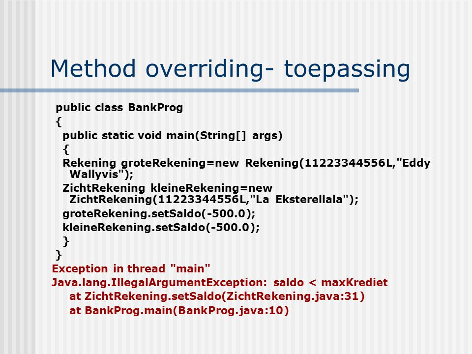 Method overriding- toepassing