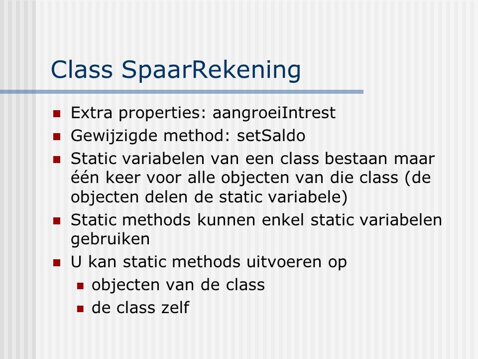 Class SpaarRekening Extra properties: aangroeiIntrest