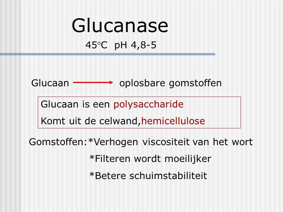 Glucanase 45°C pH 4,8-5 Glucaan oplosbare gomstoffen